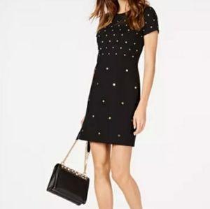 Michael Kors Womens Studded Sheath Dress Black